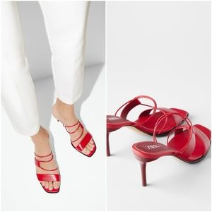 ZARA RED LEATHER HIGH HEELED STRAPPY SANDALS